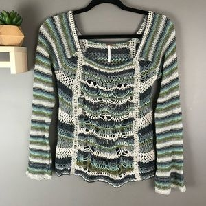 Free people crochet sweater boho size small blue